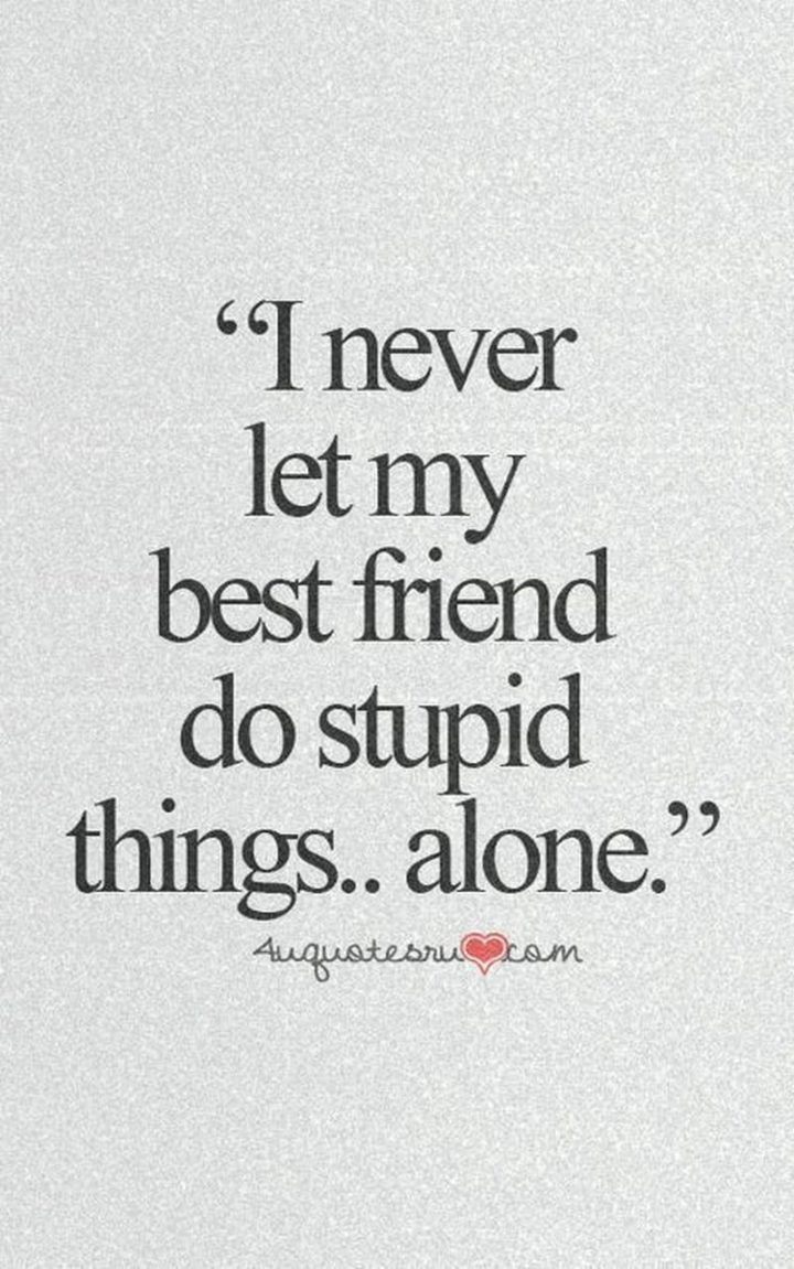 "65 Funny Friend Memes - ""I never let my best friend do stupid things...alone."""