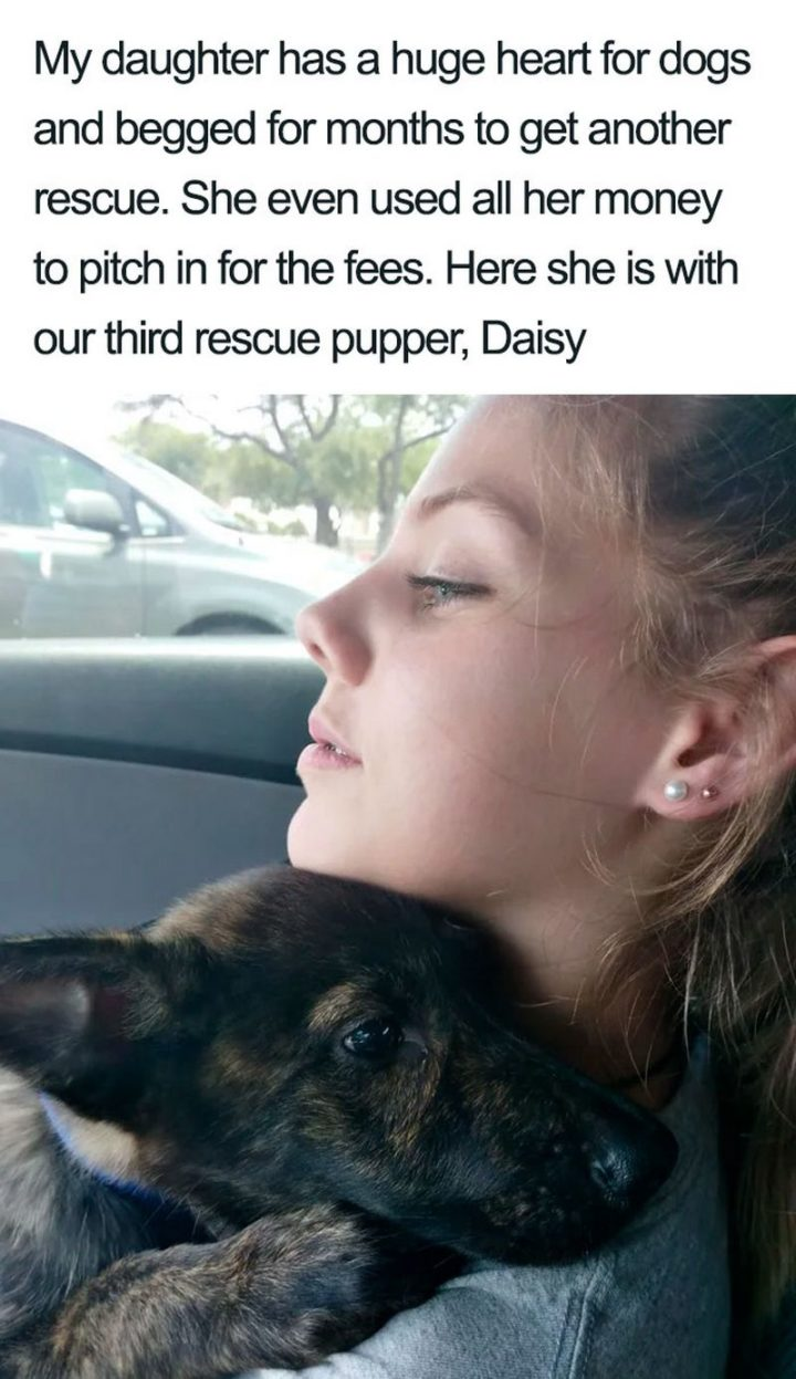 "55 Cute Dog Posts - ""My daughter has a huge heart for dogs and begged for months to get another rescue. She even used all her money to pitch in for the fees. Here she is with our third rescue pupper, Daisy."""