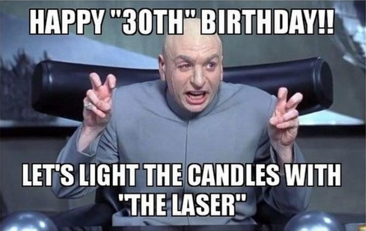 "101 Happy 30th Birthday Memes - ""Happy '30th' birthday!! Let's light the candles with 'the laser'."""