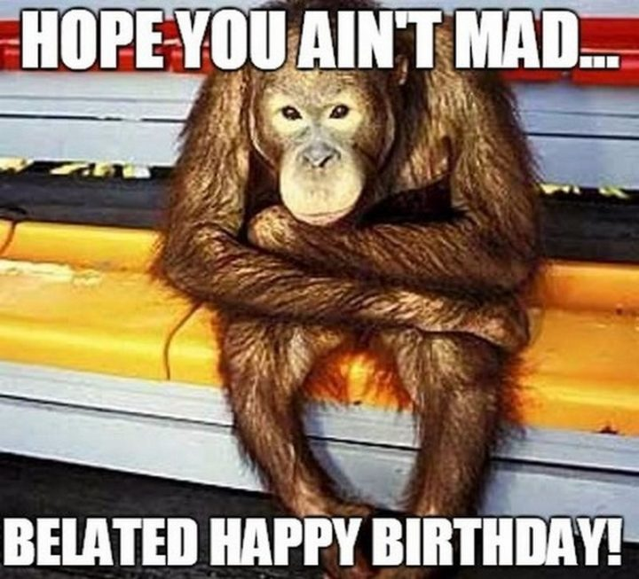 "85 Happy Belated Birthday Memes - ""Hope you ain't mad...Belated happy birthday!"""