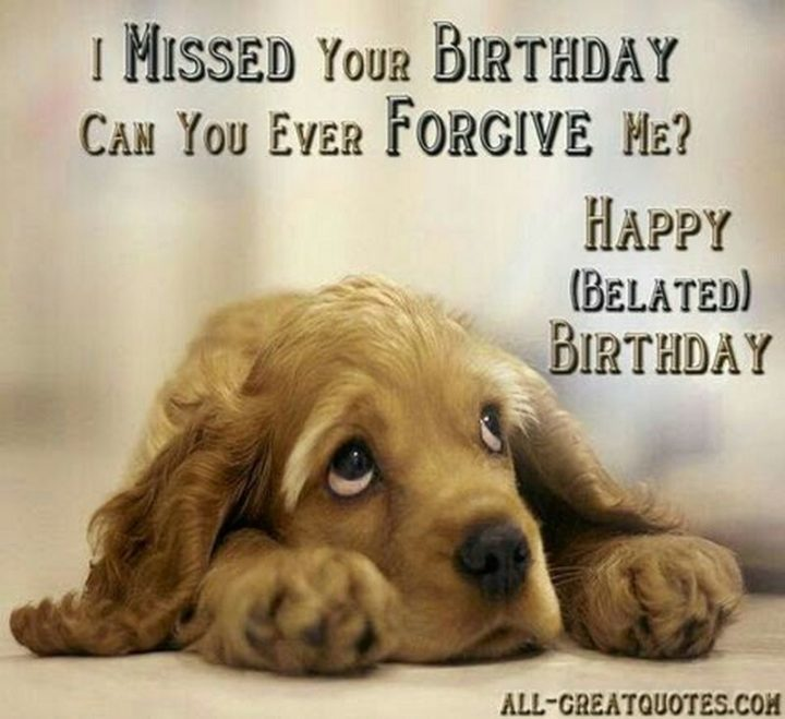 "85 Happy Belated Birthday Memes - ""I missed your birthday. Can you ever forgive me? Happy belated birthday meme."""