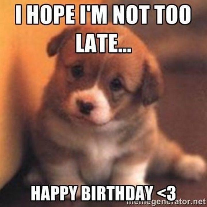 "85 Happy Belated Birthday Memes - ""I hope I'm not too late...Happy birthday <3."""
