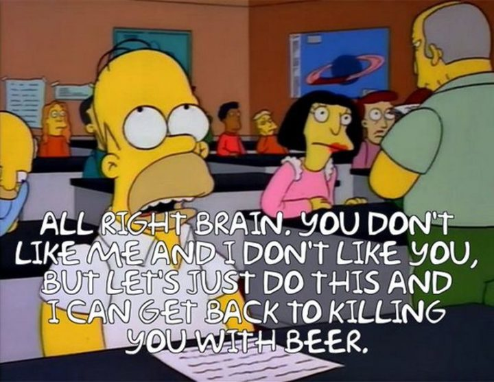 "27 Homer Simpson Quotes - ""All right brain. You don't like me and I don't like you, but let's just do this and I can get back to killing you with beer."""