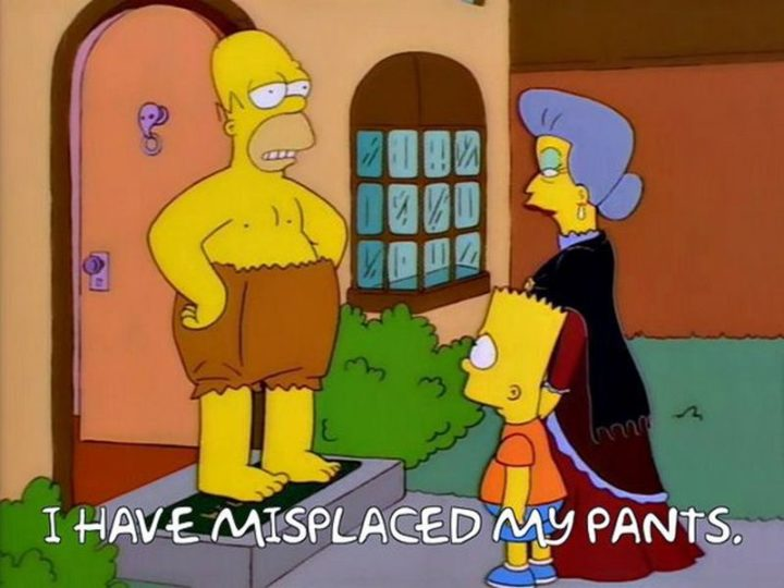 "27 Homer Simpson Quotes - ""I have misplaced my pants."""