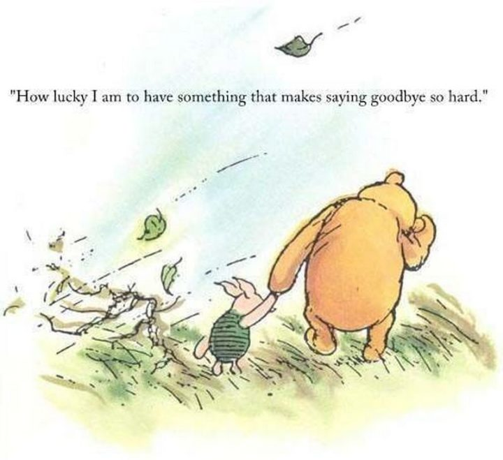 "41 Incredibly Powerful Quotes - ""How lucky I am to have something that makes saying goodbye so hard."" - Winnie the Pooh"