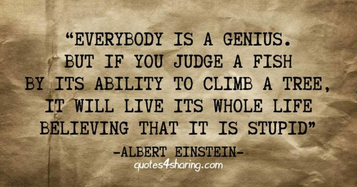 "41 Incredibly Powerful Quotes - ""Everybody is a genius. But if you judge a fish by its ability to climb a tree, it will live its whole life believing that it is stupid."" - A powerful quote by Albert Einstein"