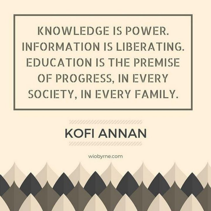 "45 Education Quotes - ""Knowledge is power. Information is liberating. Education is the premise of progress, in every society, in every family."" - Kofi Annan"