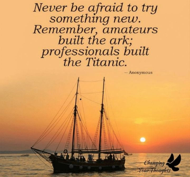 "45 Education Quotes - ""Never be afraid to try something new. Remember amateurs built the ark, but professionals built the Titanic."" - Anonymous"