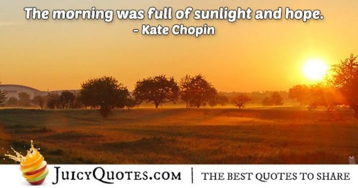 "45 Good Morning Quotes - ""The morning was full of sunlight and hope."" - Kate Chopin"