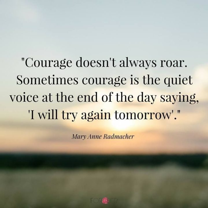 """61 Meaningful Quotes - """"Courage does not always roar. Sometimes, courage is the quiet voice at the end of the day saying, 'I will try again tomorrow'."""" - Mary Anne Radmacher"""