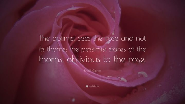 """61 Meaningful Quotes - """"The optimist sees the rose and not its thorns; the pessimist stares at the thorns, oblivious to the rose."""" - Kahlil Gibran"""