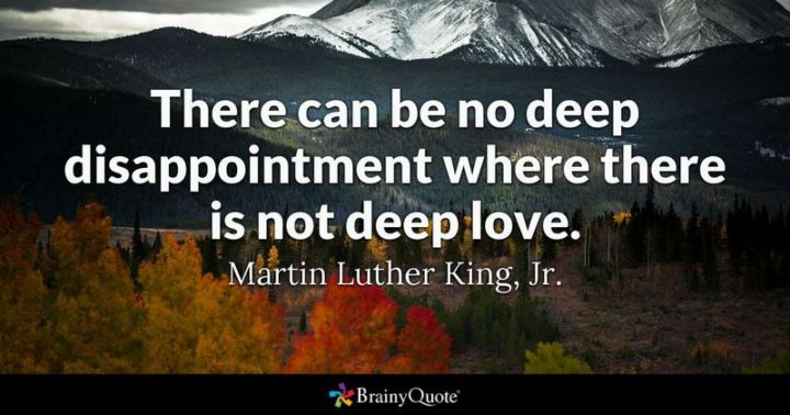 """61 Meaningful Quotes - """"There can be no deep disappointment where there is not deep love."""" - Martin Luther King, Jr."""