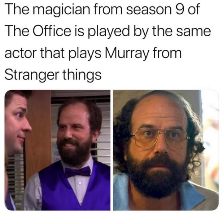 "57 Funny 'the Office' Memes - ""The magician from season 9 of 'The Office' is played by the same actor that plays Murray from 'Stranger Things'."""