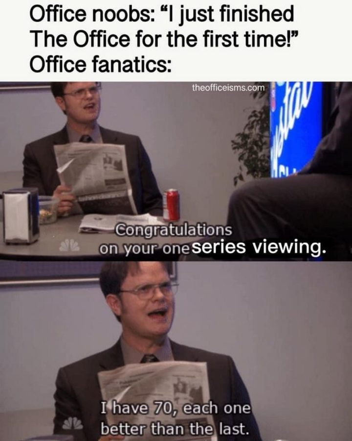 "57 Funny 'the Office' Memes - ""Office noobs: 'I just finished 'The Office' for the first time!' Office fanatics: Congratulations on your one series viewing. I have 70, each one better than the last."""