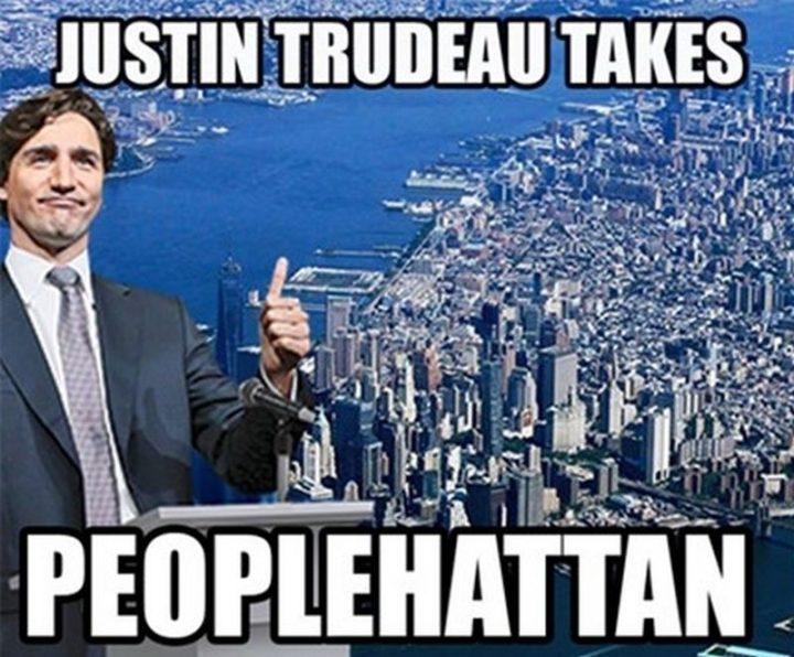 """51 Best Justin Trudeau Memes - """"Justin Trudeau takes Peoplehattan."""""""