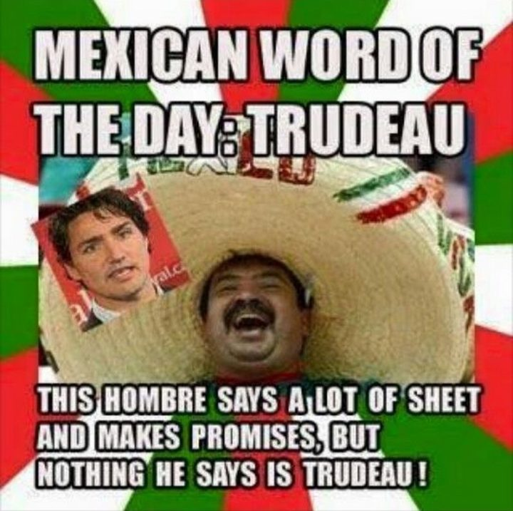 """51 Best Justin Trudeau Memes - """"Mexican word of the day: Trudeau. This hombre says a lot of sheet and makes promises, but nothing he says is Trudeau!"""""""