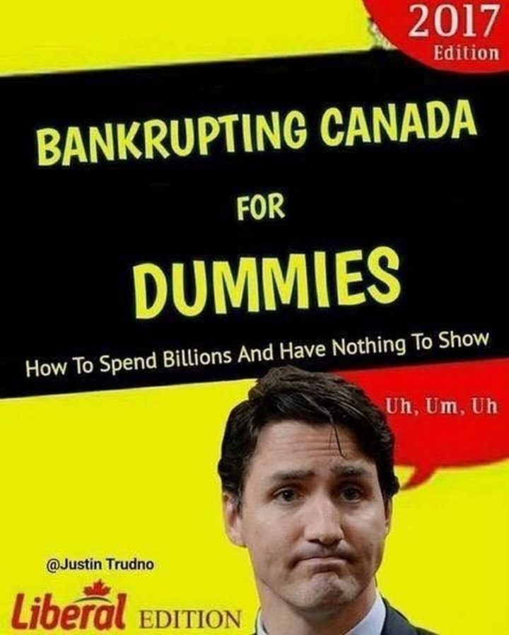 """51 Best Justin Trudeau Memes - """"Bankrupting Canada for Dummies: How to spend billions and have nothing to show. Liberal Edition. Uh, Um, Uh."""""""
