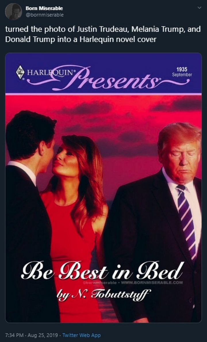 """51 Best Justin Trudeau Memes - """"Turned the photo of Justin Trudeau, Melania Trump, and Donald Trump into a Harlequin novel cover."""""""