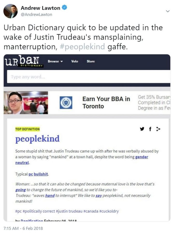 """51 Best Justin Trudeau Memes - """"Urban Dictionary quick to be updated in the wake of Justin Trudeau's mansplaining manterruption, peoplekind gaffe."""""""