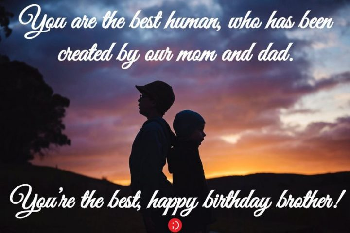 "43 Birthday Wishes for Brothers - ""You are the best human, who has been created by our mom and dad. You're the best, happy birthday brother!"""