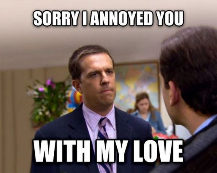 "61 Boyfriend Memes - ""Sorry I annoyed you with my love."" If you like 'The Office', don't miss these equally funny 'The Office' memes."