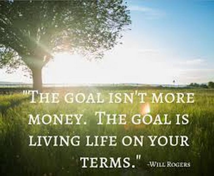 "47 Finance Quotes - ""The goal isn't more money. The goal is living life on your terms."" - Will Rogers"