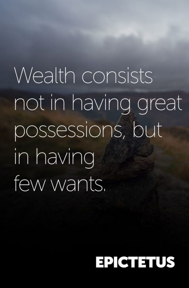 "47 Finance Quotes - ""Wealth consists not in having great possessions, but in having few wants."" -Epictetus"