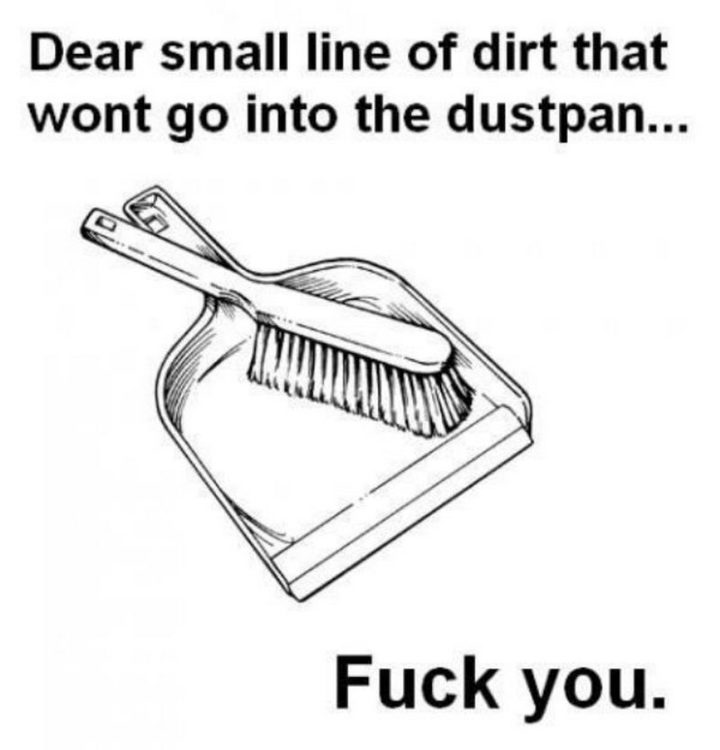 """61 Funny Clean Memes - """"Dear small line of dirt that won't go into the dustpan...F*** you."""""""