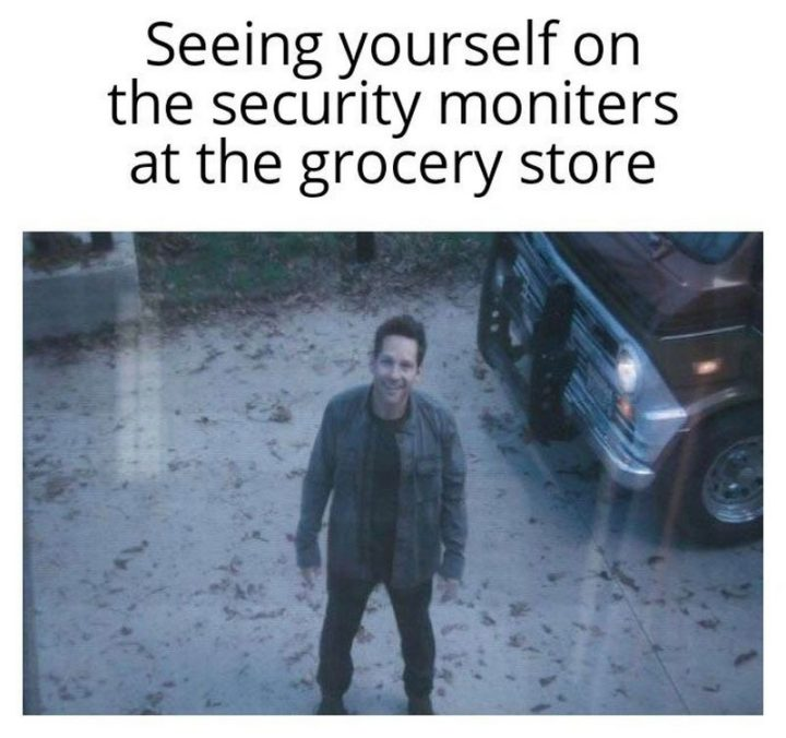 """61 Funny Clean Memes - """"Seeing yourself on the security monitors at the grocery store."""""""