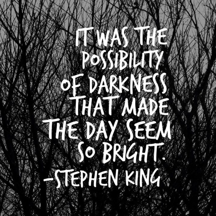 "51 Good Night Images and Quotes - ""It was the possibility of darkness that made the day seem so bright."" - Stephen King"