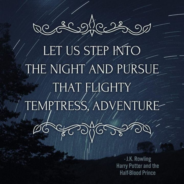 "51 Good Night Images and Quotes - ""Let us step into the night and pursue that flighty temptress, adventure."" - J.K. Rowling, Harry Potter and the Half-Blood Prince"