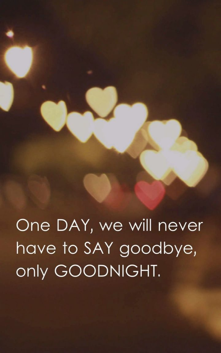 "51 Good Night Images and Quotes - ""One day, we will never have to say goodbye, only goodnight."""
