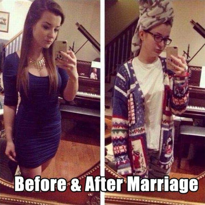 "49 Marriage Memes - ""Before and after marriage."""