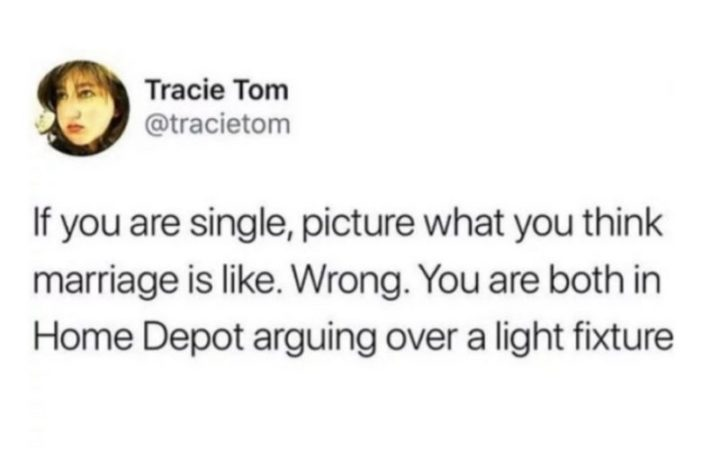 "49 Marriage Memes - ""If you are single, picture what you think marriage is like. Wrong. You are both in Home Depot arguing over a light fixture."""