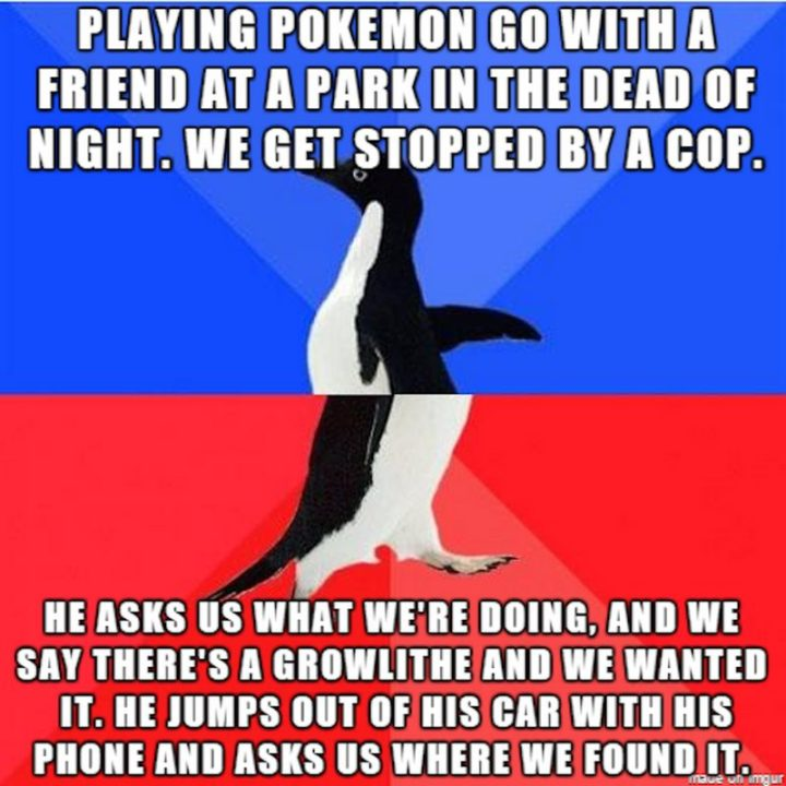 "30 Hilarious Pokémon Go Memes Only Pokemon Go Players Understand - ""Playing Pokémon Go with a friend at a park in the dead of night. We get stopped by a cop. He asks us what we're doing, and we say there's a Growlithe and we wanted it. He jumps out of his car with his phone and asks us where we found it."""