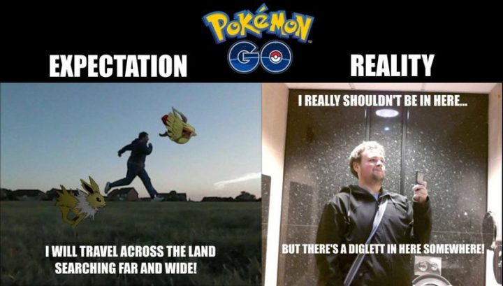 71 Pokémon memes - Pokémon Go Expectation: I will travel across the land searching far and wide. Pokémon Go Expectation: I really shouldn't be in here...but there's a Diglett in here somewhere!""