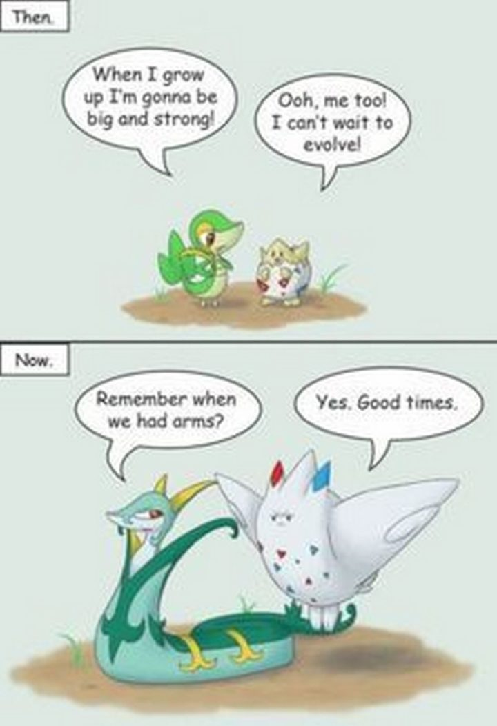 "71 Pokémon memes - ""Then: When I grow up I'm gonna be big and strong! Ooh, me too! I can't wait to evolve! Now: Remember when we had arms? Yes. Good times."""