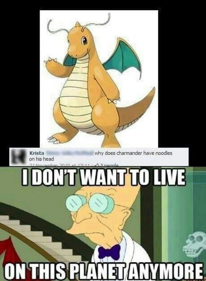 "71 Pokémon memes - ""Why does Charmander have noodles on his head. I don't want to live on this planet anymore."""