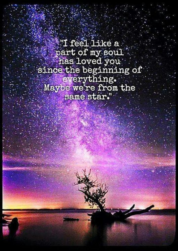 "71 Relationship Quotes - ""I feel like a part of my soul has loved you since the beginning of everything. Maybe we're from the same star."""