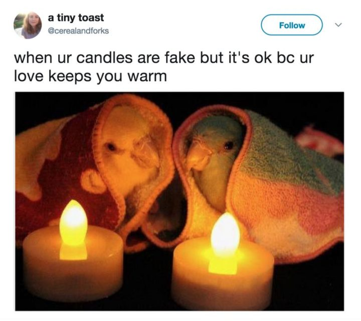 "71 Relationship Quotes - ""When ur candles are fake but it's ok bc ur love keeps you warm."""