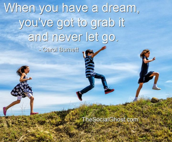 """When you have a dream, you've got to grab it and never let go."" - Carol Burnett"