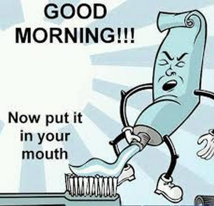 "101 Funny Good Morning Memes - ""Good morning!!! Now put it in your mouth."""