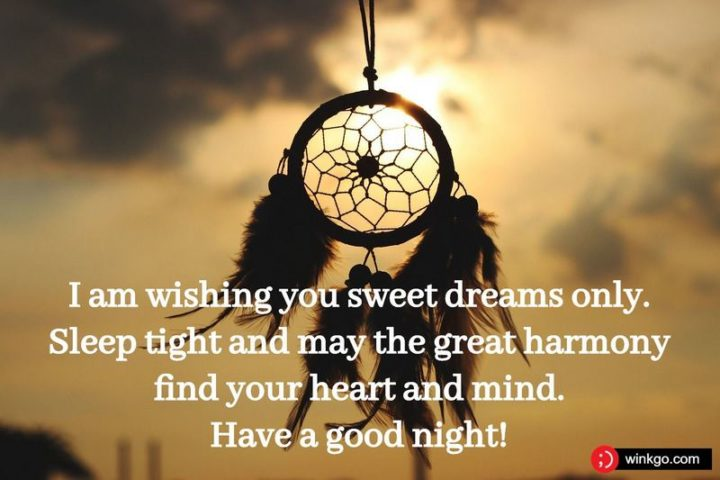 """""""I am wishing you sweet dreams only. Sleep tight and may the great harmony find your heart and mind."""""""