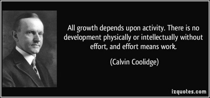 "51 Hard Work Quotes - ""All growth depends upon activity. There is no development physically or intellectually without effort, and effort means work."" - Calvin Coolidge"