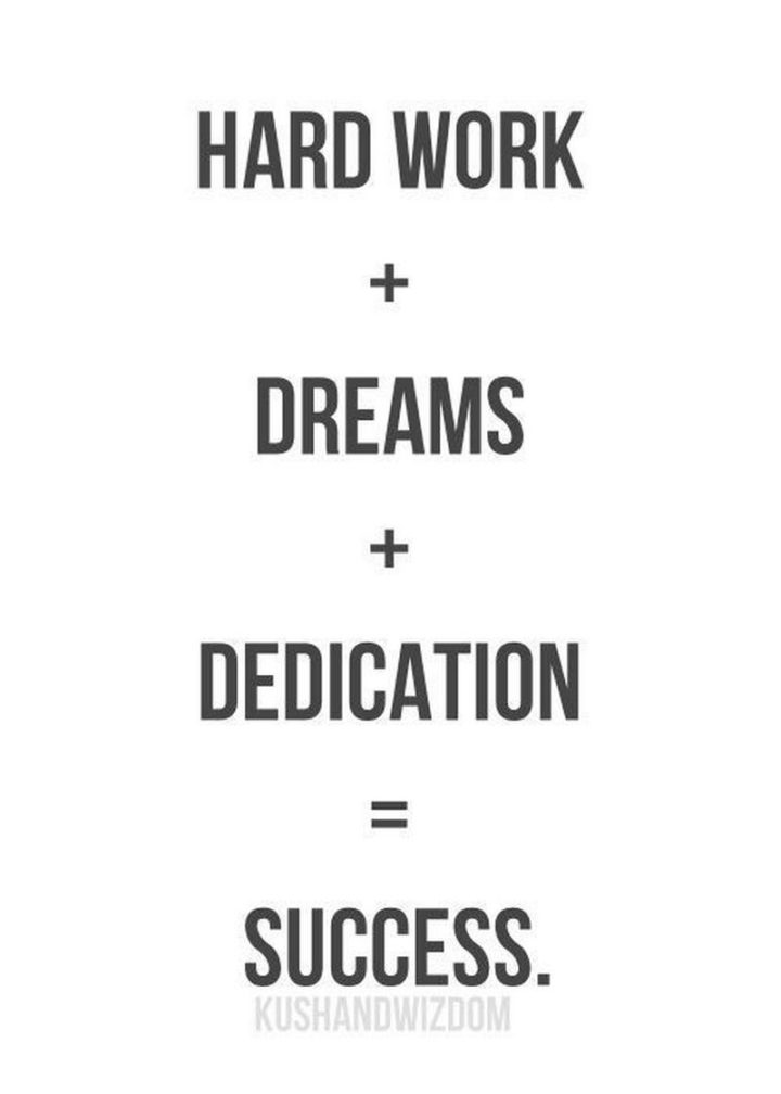 "51 Hard Work Quotes - ""Hard work + dreams + dedication = success."" - Unknown"
