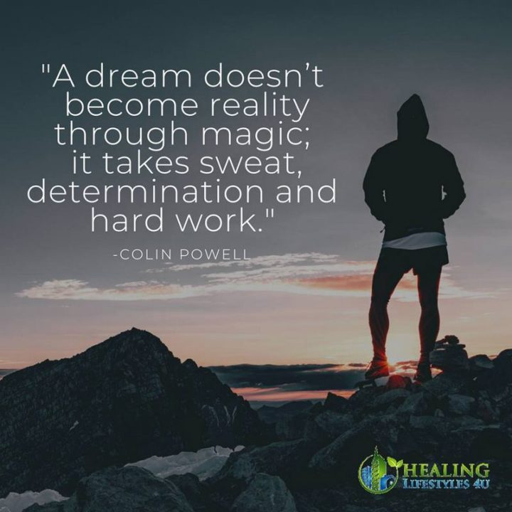 "51 Hard Work Quotes - ""A dream doesn't become reality through magic; it takes sweat, determination, and hard work."" - Colin Powell"