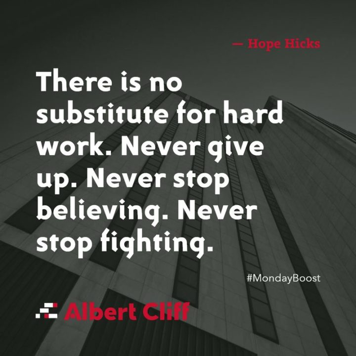 "51 Hard Work Quotes - ""There is no substitute for hard work. Never give up. Never stop believing. Never stop fighting."" - Hope Hicks"