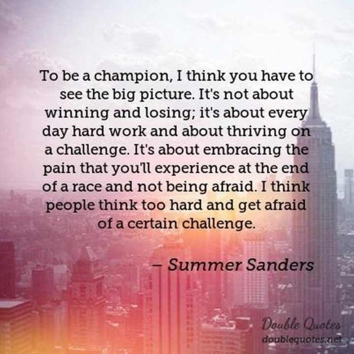 "51 Hard Work Quotes - ""To be a champion, I think you have to see the big picture. It's not about winning and losing; it's about every day hard work and about thriving on a challenge. It's about embracing the pain that you'll experience at the end of a race and not being afraid. I think people think too hard and get afraid of a certain challenge."" - Summer Sanders"