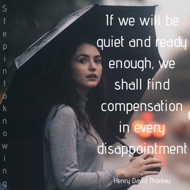 """39 Hope Quotes - """"If we will be quiet and ready enough, we shall find compensation in every disappointment."""" - Henry David Thoreau"""