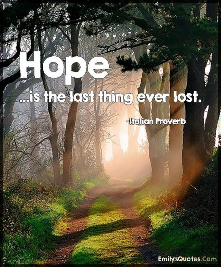 """39 Hope Quotes - """"Hope is the last thing ever lost."""" - Italian proverb"""